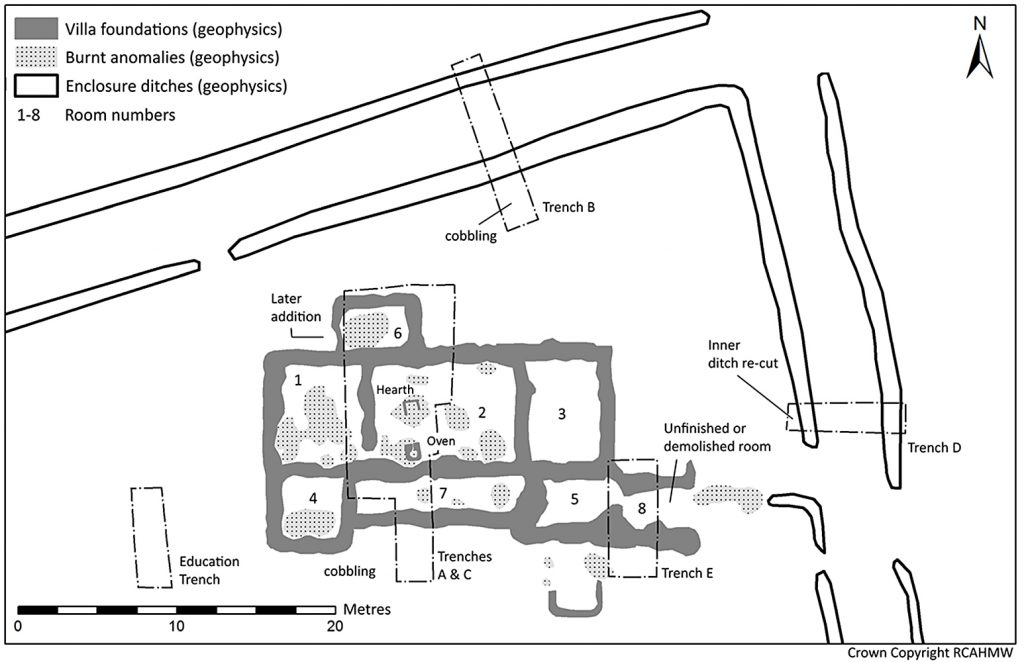 Plan of the Roman villa, showing room numbers positions of the 2010 and 2011 excavation trenches (Crown Copyright RCAHMW).