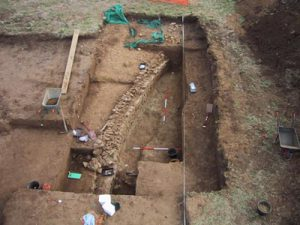 Excavation of the circular structure in 2002.